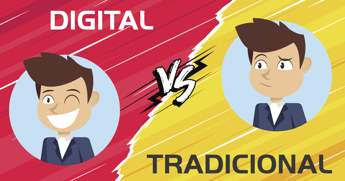 Marketing Tradicional x <span>Marketing Digital <span>